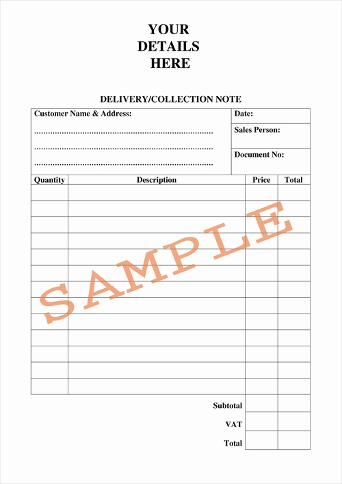 delivery form template – Delivery Order Template
